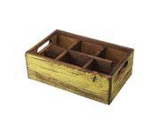 Pojemnik drewniany z 6 przegródkami, żółty