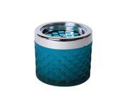 Popielniczka szklana, wiatrodporna, niebieska