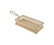 Koszyczek do serwowania potraw, prostokątny 21,5x10,5cm, stal nierdzewna, kolor złoty