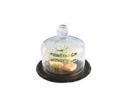 Patera, łupek naturalny ze szklaną przykrywką 10,5cm