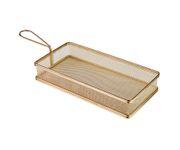 Koszyczek do serwowania potraw, prostokątny 26x13cm, stal nierdzewna, kolor złoty