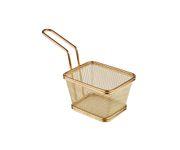 Koszyczek do serwowania potraw, prostokątny 10x8,5cm, stal nierdzewna, kolor złoty