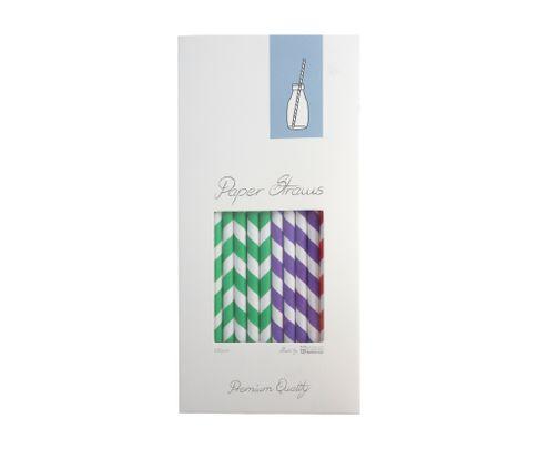 Słomki Rurki cocktailowe Jumbo, papierowe, wzór mix kolorów, 25,5cm