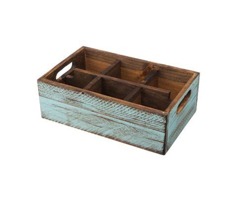 Pojemnik drewniany z 6 przegródkami, turkusowy