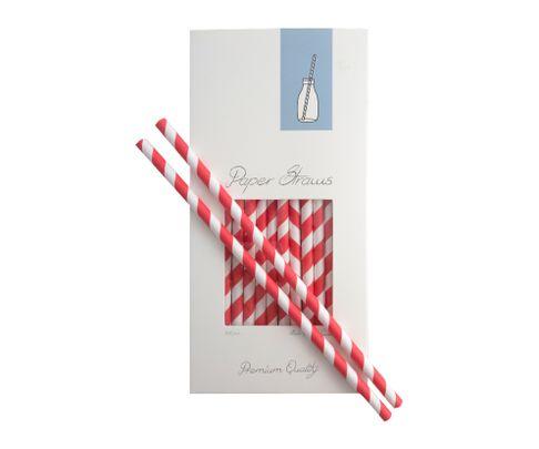 Słomki Rurki cocktailowe Jumbo, papierowe, wzór biało-czerwone paski