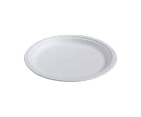 Talerz z trzciny cukrowej, okrągły, średnica 26cm, biały, op.50 sztuk