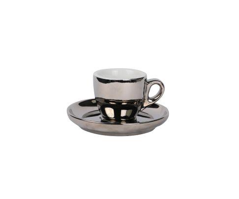 Filiżanka do espresso 55ml APS Barista, srebrna (ze spodkiem)