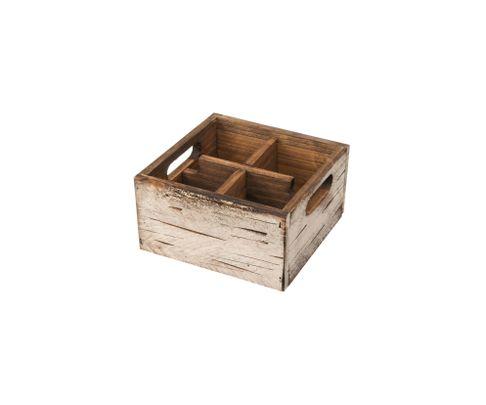 Pojemnik drewniany z 4 przegródkami, biały