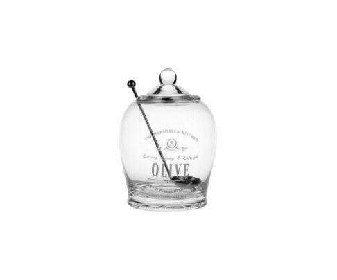 Słoik na oliwki szklany z łyżeczką 14,7cm