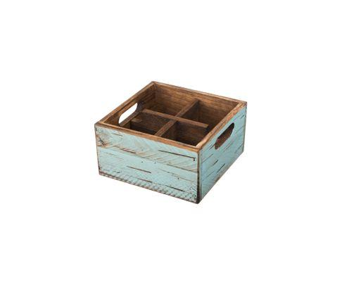 Pojemnik drewniany z 4 przegródkami, turkusowy
