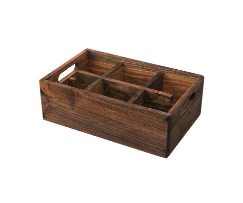 Pojemnik drewniany z 6 przegródkami, brązowy