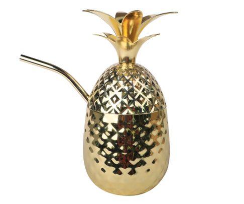 Tiki Mug Pineapple 455ml z rurką, stal nierdzewna, pozłacany-Ananas