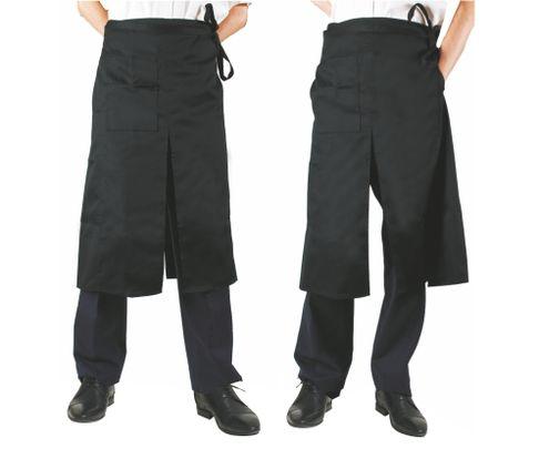 Zapaska kelnerska (fartuch) z rozcięciem oraz kieszonką 100x80cm, czarna
