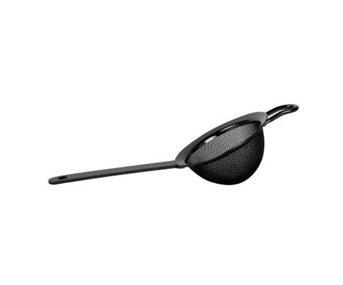 Sitko barmańskie Fine Strainer, zaokrąglone, czarny metallic (Gun Metal), średnica 8cm