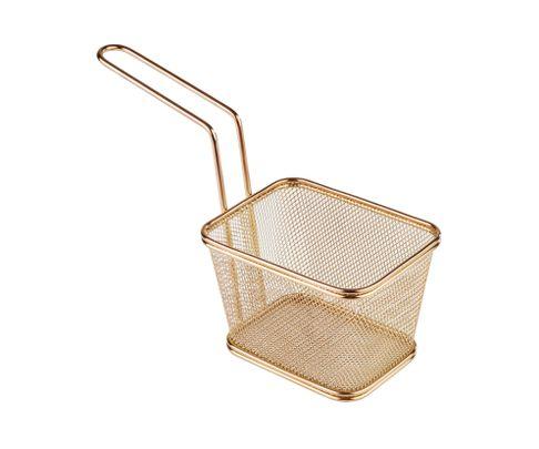 Koszyczek do serwowania potraw, prostokątny 13x10,5cm, stal nierdzewna, kolor złoty