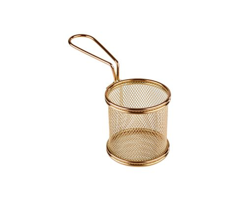 Koszyczek do serwowania potraw, śr. 8 cm, stal nierdzewna, kolor złoty