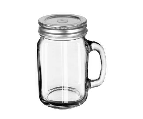 Słoik z uchem Drinking Jar z nakrętką z dziurką Economy Line 473ml