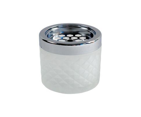 Popielniczka szklana, wiatrodporna, biała-szroniona