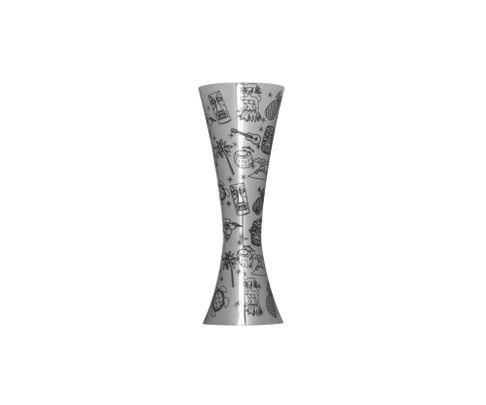 Miarka barowa (Jigger) 25/50ml, Aero, polerowana, wzór Tiki