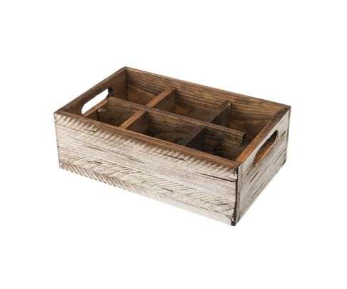 Pojemnik drewniany z 6 przegródkami, biały