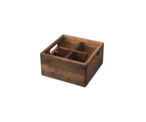 Pojemnik drewniany z 4 przegródkami, brązowy