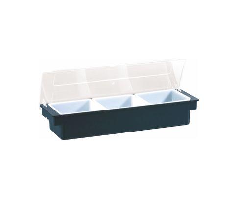 Pojemnik na owoce, 3 przegródki, plastik, czarny, 50x15x9cm