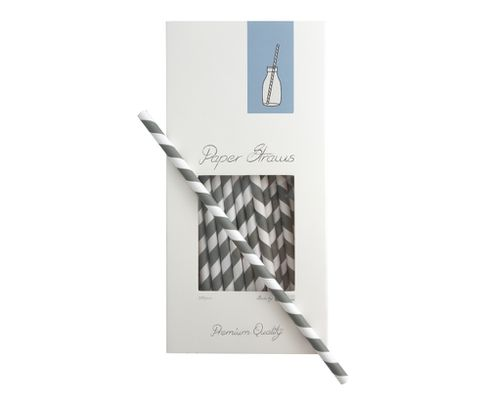 Słomki Rurki cocktailowe Jumbo papierowe, wzór biało-szare paski
