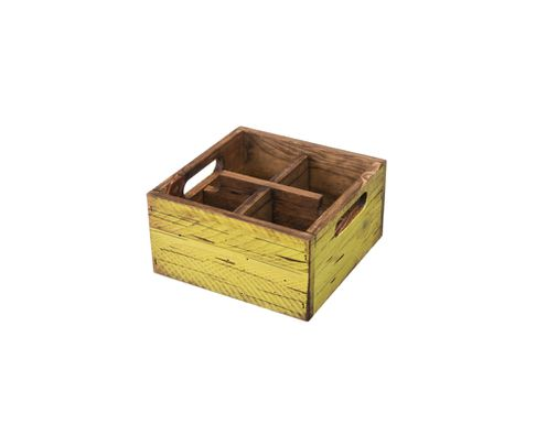 Pojemnik drewniany z 4 przegródkami, żółty