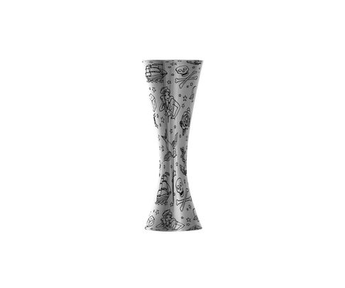 Miarka barowa (Jigger) 25/50ml, Aero, polerowana, wzór Tattoo