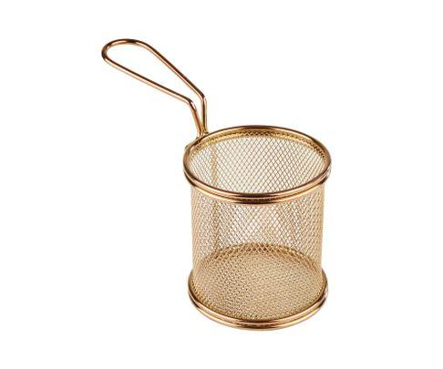 Koszyczek do serwowania potraw, śr. 9 cm, stal nierdzewna, kolor złoty