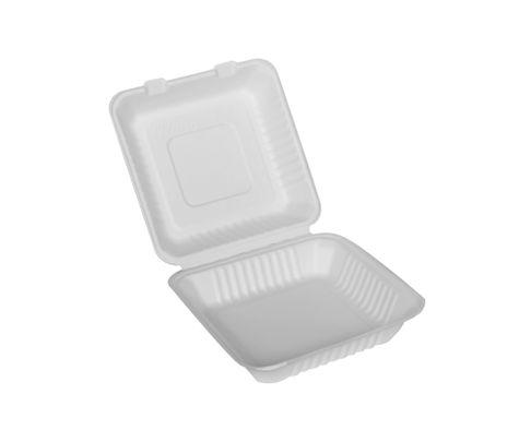 Menu Box z trzciny cukrowej duży, 230x230x75mm, biały, op.50 sztuk
