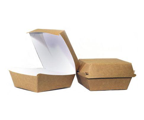 Pudełko Burger Box duże, 150x150x80 karton biało-brązowy, op.100 sztuk