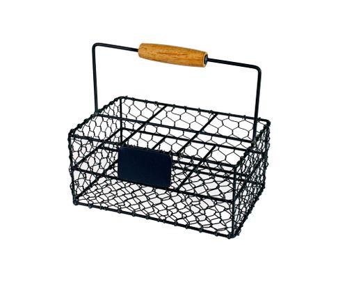 Koszyczek serwisowy metalowy czarny z tabliczką 21x14x9,5cm