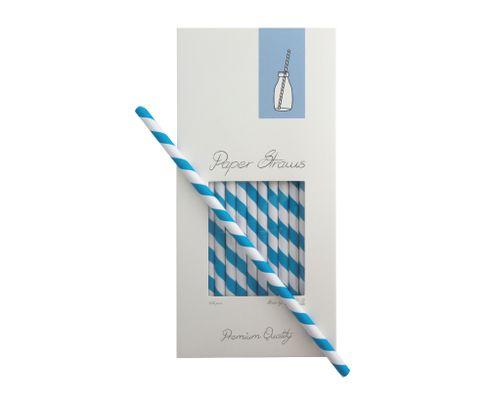 Słomki Rurki cocktailowe Jumbo papierowe, wzór biało-niebieskie paski